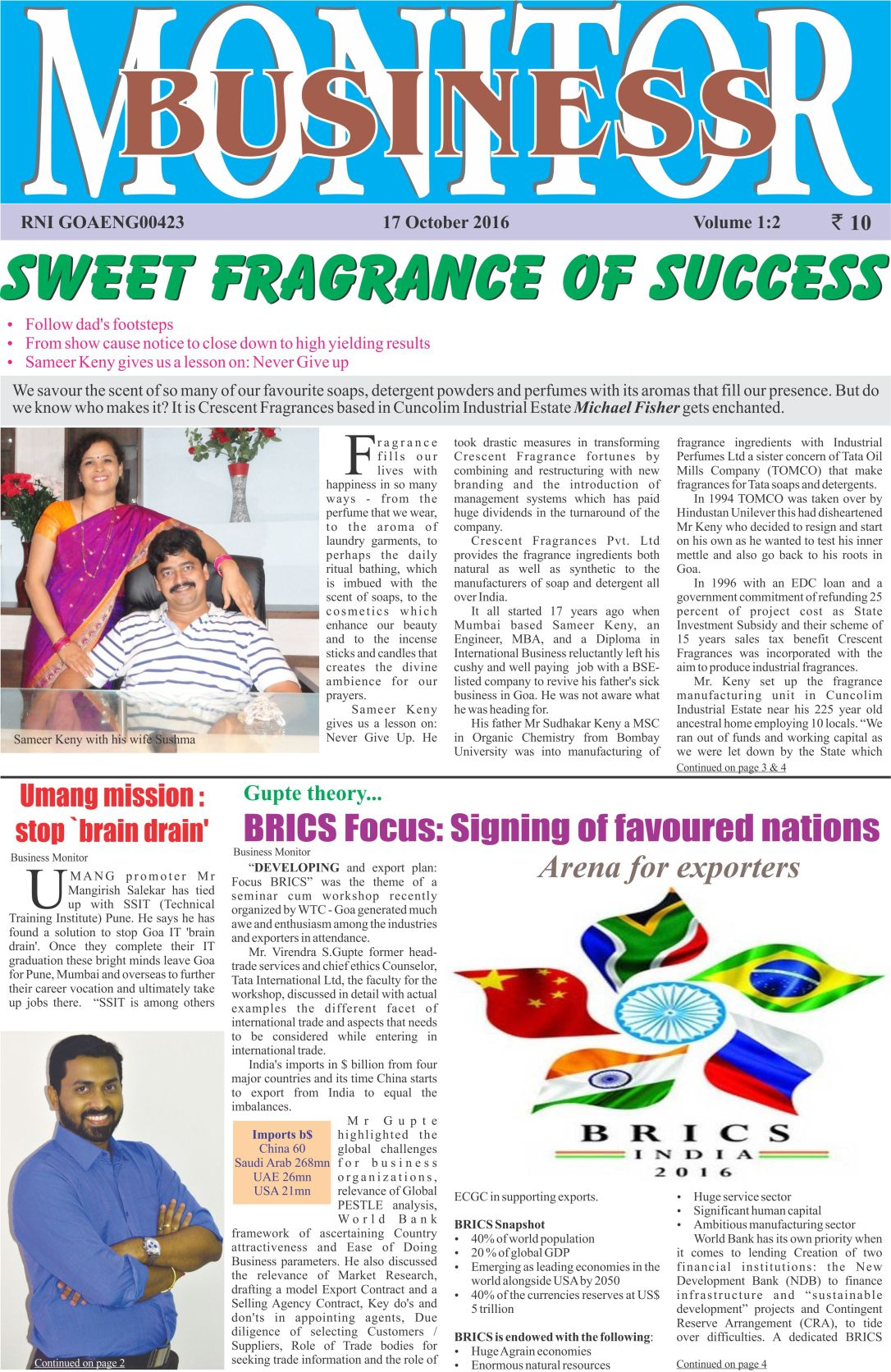 Business Monitor Cover story Page 1