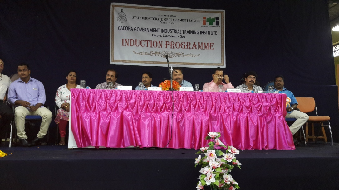 Mr. Sameer gracing the dais during induction ceremony for trainees of ITI Cacora(Goa)